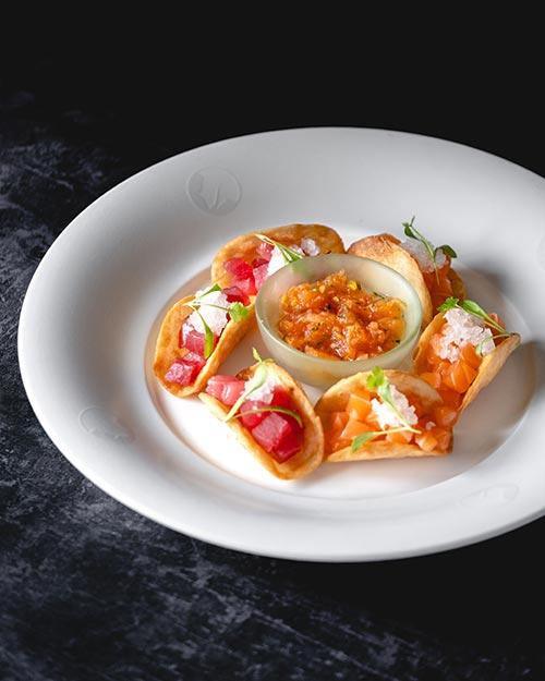 Nobu Tacos with Salmon and Tuna Sashimi